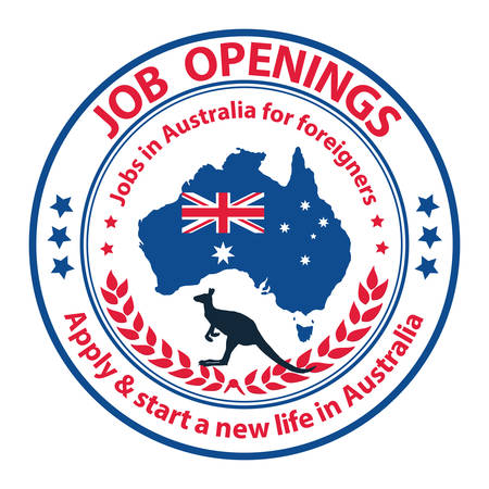 Job openings. Apply & start a new life in Australia - grunge stamp / sticker with the Australian map and flag Vettoriali