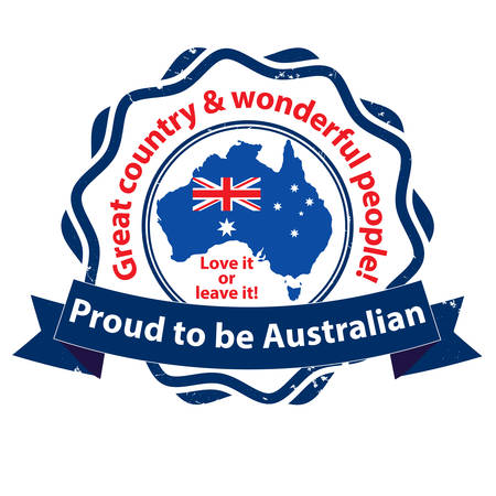 Proud to be Australian. Truly a great country. Love it or leave it - - grunge printable stamp  tag  sticker with the australian map and flag and a kangaroo. Print colors (CMYK) used