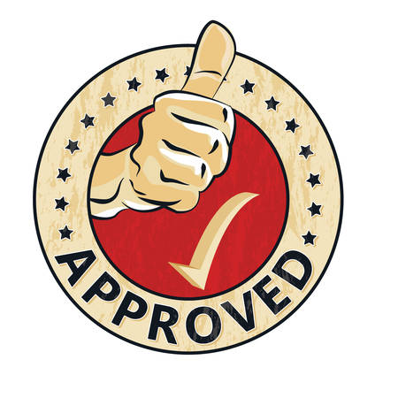 Approved - grunge stamp / sticker / label with thumbs up. Print colors used