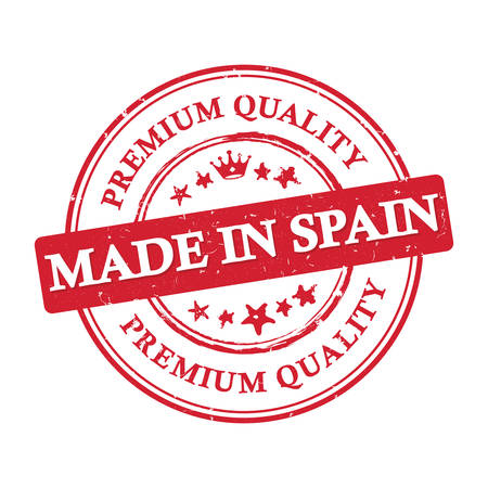 Made in Spain, Premium Quality - grunge printable label. Illustration