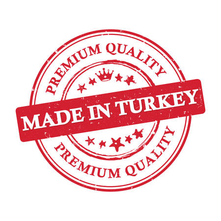 Made in Turkey, Premium Quality - business grunge stamp  label. Print colors used Illustration