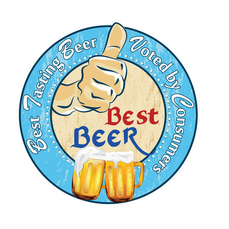 Best beer. Best tasting beer voted by Consumers - sticker or label advertising for pubs, clubs, restaurants and breweries. Print colors used.