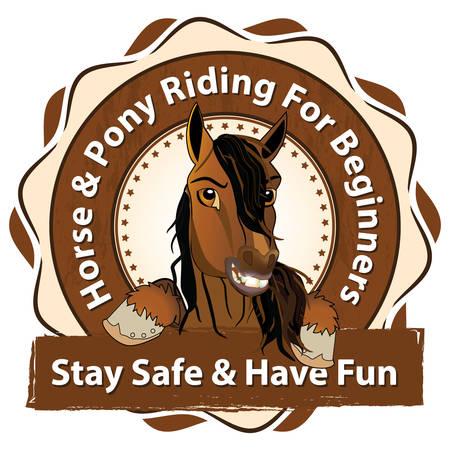 Paard- en ponyrijden voor beginners. Blijf veilig en plezier - Paardensport reclame voor paardrijden Stock Illustratie
