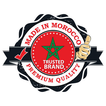 Made in Morocco. Premium quality, Trusted fire - grunge printable stamp, tag  sign with national flag colors an thumbs up. Print colors used