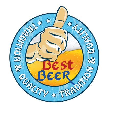 Best beer, Tradition and quality - sticker or label advertising for pubs, clubs, restaurants and breweries. Print colors used.