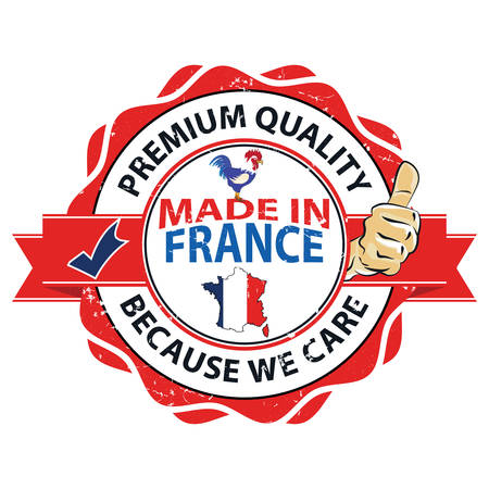 Made in France. Premium Quality, Because We Care - grunge label containing the map and flag colors of France. Print colors used