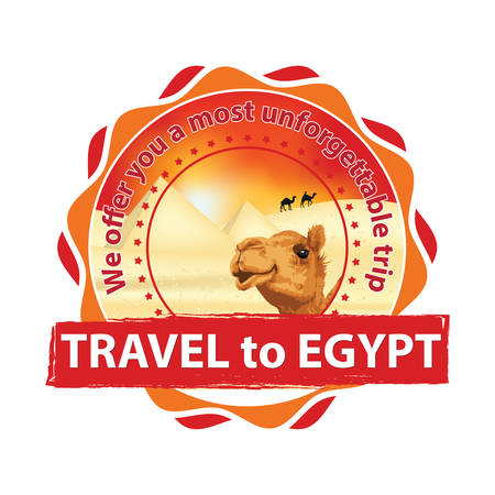 Travel to Egypt. We offer you a most unforgettable trip - business travel agency stamp  label for summer holidays with camel and pyramids on the background. Print colors used Illustration