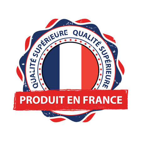 Produit en France, Qualité Superior (French language: Made in France, Premium Quality) - grunge label containing the map and flag colors of France. Print colors used