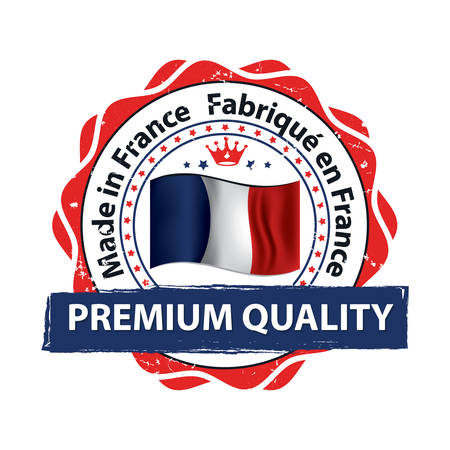 Made in France (French language: Fabrique en France), Premium Quality - grunge label containing the map and flag colors of France. Print colors used