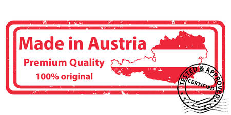 Made in Austria, Premium Quality, 100% original - grunge printable stamp, label and sign with national flag colors. Print colors used
