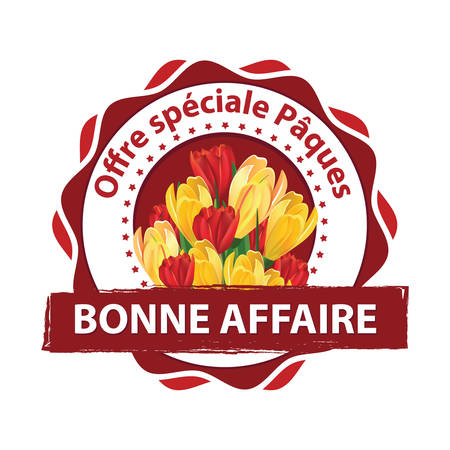 Special Easter offer. Take advantage of our discounts - French language: Offre Special Paques; Profitez de notre offre special. - printable stamp with spring flowers. Print colors used