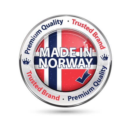 sacrifice: Made in Norway, Premium Quality, Trusted Brand - business commerce shiny icon with the Norways flag. Suitable for retail industry. Illustration