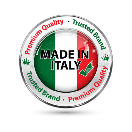 Made in Italy, Premium Quality, Trusted Brand - business commerce shiny icon with the Italian flag on the background. Suitable for retail industry. Illustration