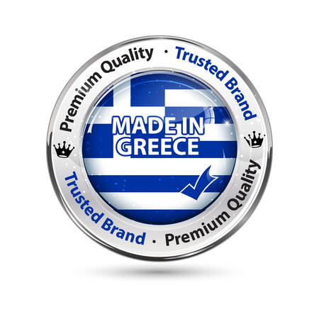 Made in Greece, Premium Quality, Trusted Brand - business commerce shiny icon with the Greek flag on the background.