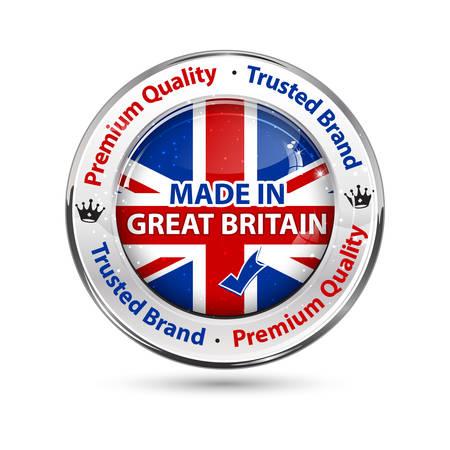 イギリス - 背景に英語のフラグを持つビジネス商業光沢のあるアイコンを作った。小売り業に適しています。