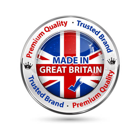 Made in Great Britain - business commerce shiny icon with the English flag on the background. Suitable for retail industry.