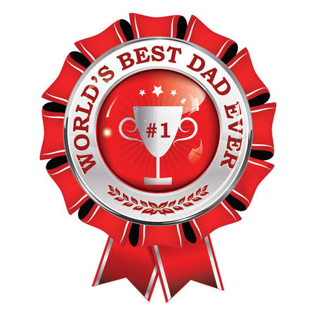 Best dad in the world, Dad No. 1 - award ribbon, button, icon, label. Print colors used Illustration