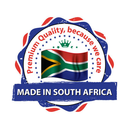 Made in South Africa, premium quality, Because We Care - grunge printable stamp, label and sign with national flag colors. Print colors used Illustration