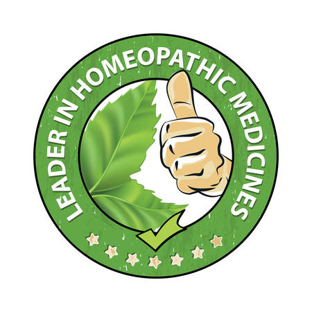 homeopathic: Leader in homeopathic medicines - printable stamp  sticker with green leaves. Print colors used