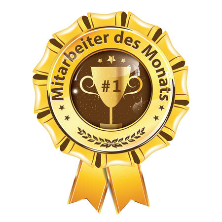 Employee of the Month (Translation of the German text: Mitarbeiter des Monats.) Blue ribbon. Print colors used