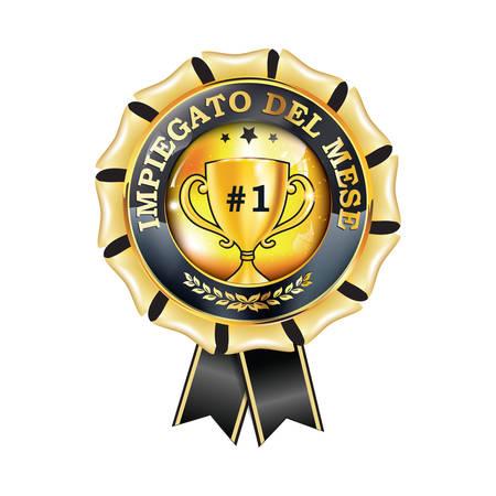 Employee of the month in Italian Language - elegant award ribbon. Print colors used