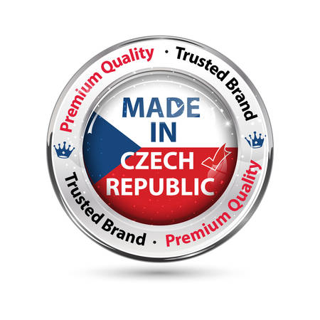 Made in Czech Republic, Premium Quality, trusted brand - business commerce shiny icon with the Czech flag on the background. Suitable for retail industry.