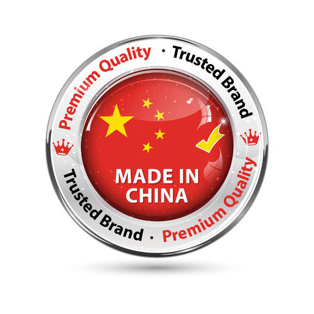 Made in China, Premium Quality - business commerce shiny icon with the Chinese flag on the background. Suitable for retail industry.