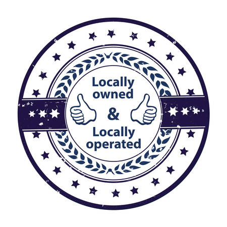 owned: Locally owned, locally operated - blue grunge label. Print colors used Illustration