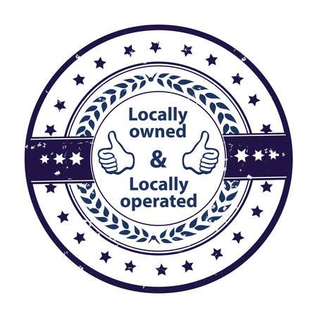 Lokal, lokal betrieben - blaues Grunge-Label. Druckfarben verwendet Vektorgrafik