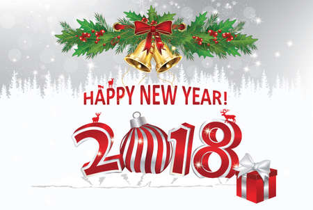 Greeting card for the holiday season 2018 - Happy New Year! Stock Photo