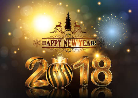 Happy New Year 2018 background  greeting card with Brightly Colorful Fireworks and colorful lights, on twilight background.