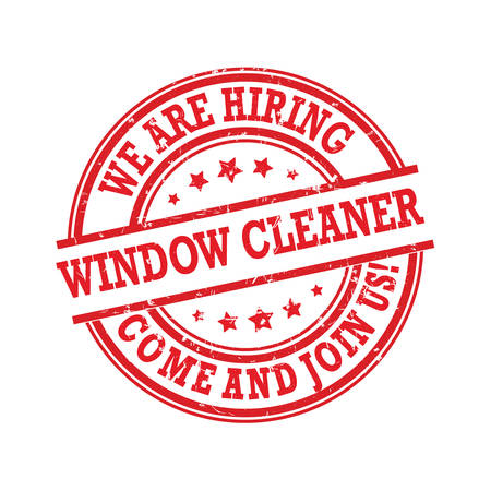 We are hiring window cleaner. Label  sticker for print, designed for recruitment companies Illustration