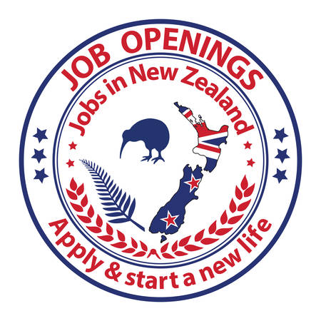 Job openings in New Zealand. Apply and start a new life. Stamp for print. Maps and national flag of the New Zealand are included, as well as some national symbols: the Kiwi bird and the fern leaf. Illustration