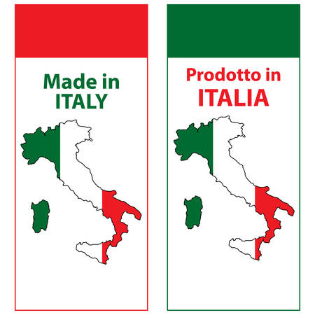 Made in Italy (Prodotto in Italia) - sticker set for print designed for the retail industry. The text is written in English and Italian. Contains the Italian map and flag.