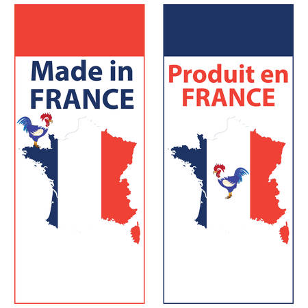 Made in France - sticker set for print. Contains the map and the flag of France, as well as a depiction of the french national symbol, the gallic rooster Ilustrace