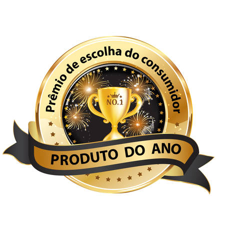 Award badge for the Portuguese and Brazilian Market. Text translation; Costumers choice award. Product of the Year.