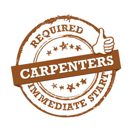 Carpenters required for immediate start. Brown printable sticker for recruitment purposes Illustration