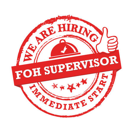 We are hiring front of the house supervisor - red printable sticker for designed for companies that are recruiting people to work in the hospitality industry