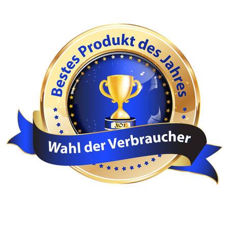 Award recognition badge with German text. Text translation: Best product of the year. Customers choice. Illustration