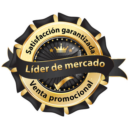 Award badge with text written in Spanish. Text translation: market leader; satisfaction guaranteed; promotional sale; Illustration