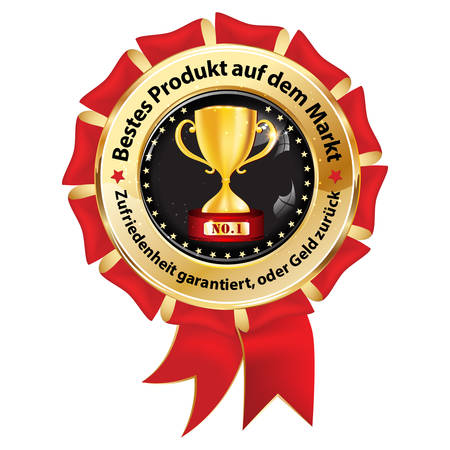 Award badge designed for the German retail market. Text translation: Best product on the market. Satisfaction guaranteed or money back.