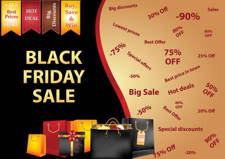Black Friday sale background  advertising shopping poster. Illustration