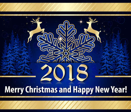 Merry Christmas and a Happy New Year 2018! - blue and golden corporate greeting card for the winter holidays season