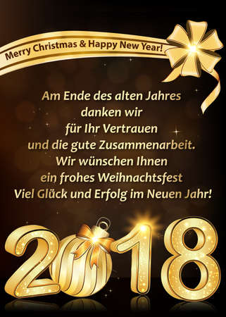 New Year 2018 greeting card designed for the German speaking clients. Text translation: At the end of the year we want to thank you for your trust and cooperation. We wish you Merry Christmas and Happy New Year