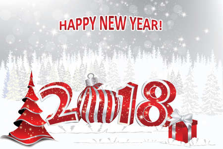 Merry Christmas and a Happy New Year 2018 - background for holidays season greeting cards