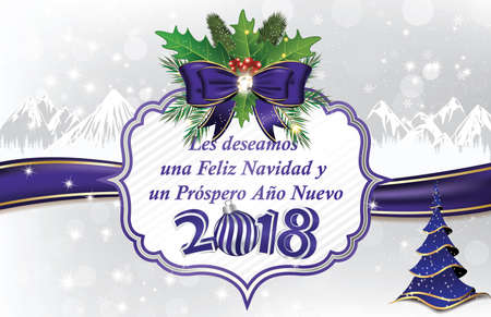 Merry Christmas and a Happy New Year 2018! written in Spanish -  blue corporate greeting card for the winter holidays season Stock Photo