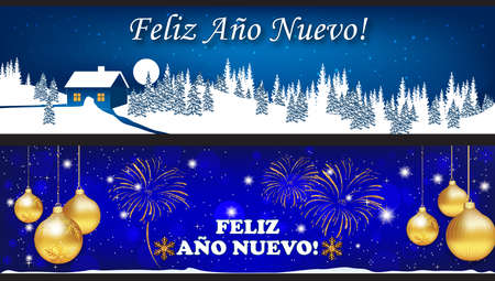Banner set  background images with Spanish text designed for the New Year 2018 celebration
