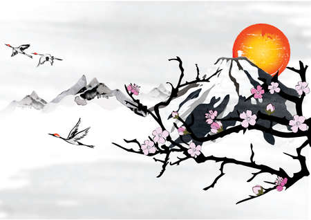 Traditional Korean  Japanese  Chinese background for greeting cards, with mountains, blossom branches and flying crane birds.