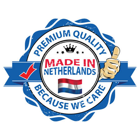 Made in Netherlands - premium quality, because we care. Printable stamp / label for print, designed for the retail market. Illustration