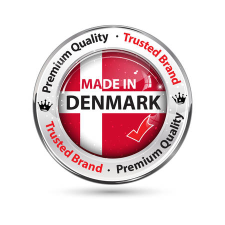 Made in Denmark - business commerce shiny icon with the flag of Denmark on the background. Suitable for retail industry.
